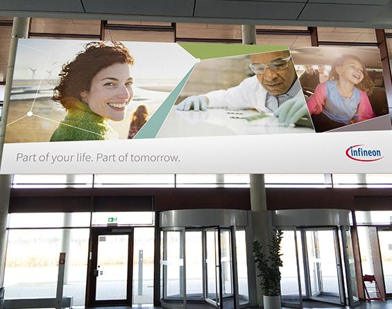Werbung Indoor Eingangsbereich entrance Infineon