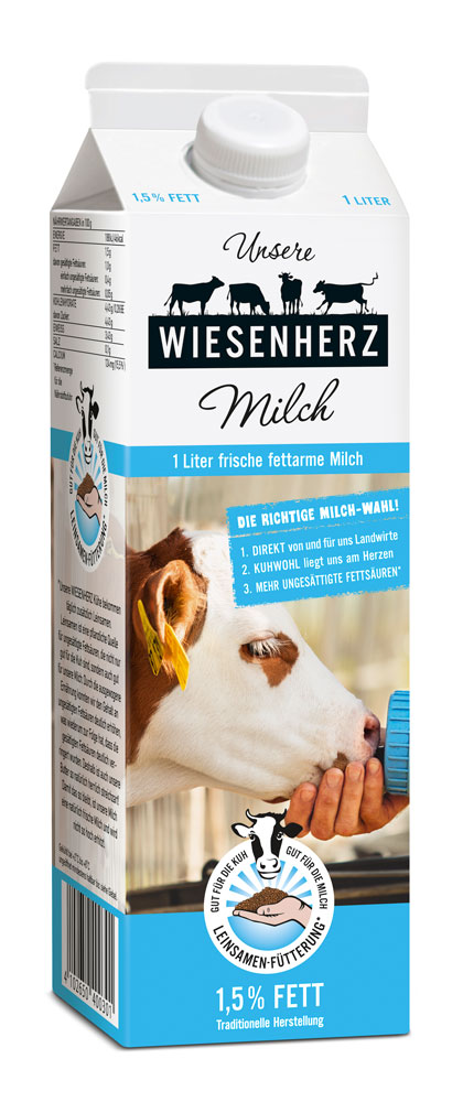 Packaging Design Wiesenherz fettarme Milch rickert Markenagentur