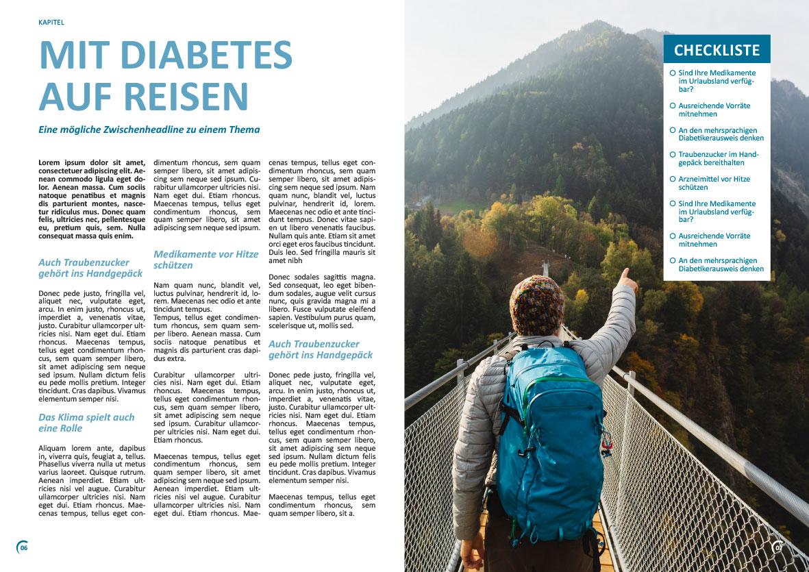 Beispielseiten einer Broschüre für das Diabetesnetz Deutschland
