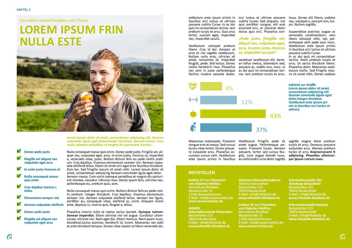Beispielseiten einer Broschüre für das Diabetesnetz Deutschalnd