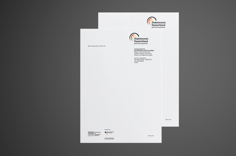 Gestaltung Geschaeftspapier Diabetesnetz Deutschland