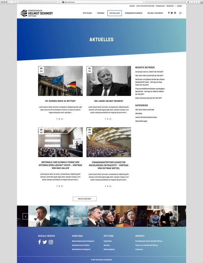 Website Bundeskanzler Helmut Schmidt Aktuelles 1