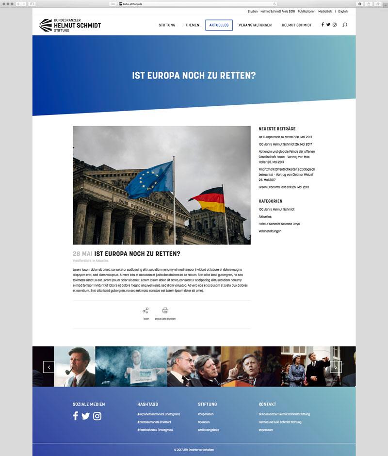 Website Bundeskanzler Helmut Schmidt Artikel